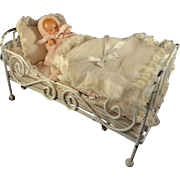 White Metal Doll Bed with Baby and Bed Coverings