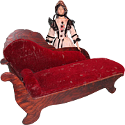Wonderful Doll's Chaise with Burgundy Velvet Upholstery