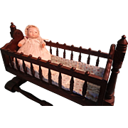 Victorian Wooden Cradle for Baby Doll