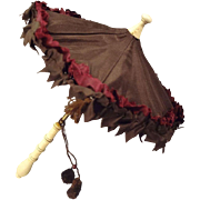 Fabulous Tiny French Fashion Parasol with Carved Handle