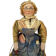 "Stunning 9""  French Cloth Doll with Painted Face and Glasses"