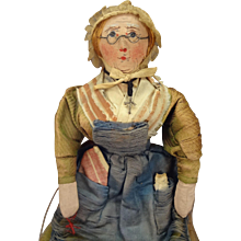 """Stunning 9""""  French Cloth Doll with Painted Face and Glasses"""