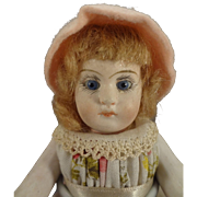 "Adorable 5 1/2"" All Bisque Doll with Glass Eyes"