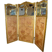 Fabulous Miniature Three Panel Screen Mirrored and Upholstered