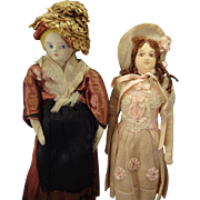 Pair of Lovely Cloth Dolls with Beautifully Painted Faces Paris Depose Label