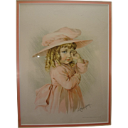 Framed Print by Maude Humphrey of a Young Girl Wiping Her Eyes