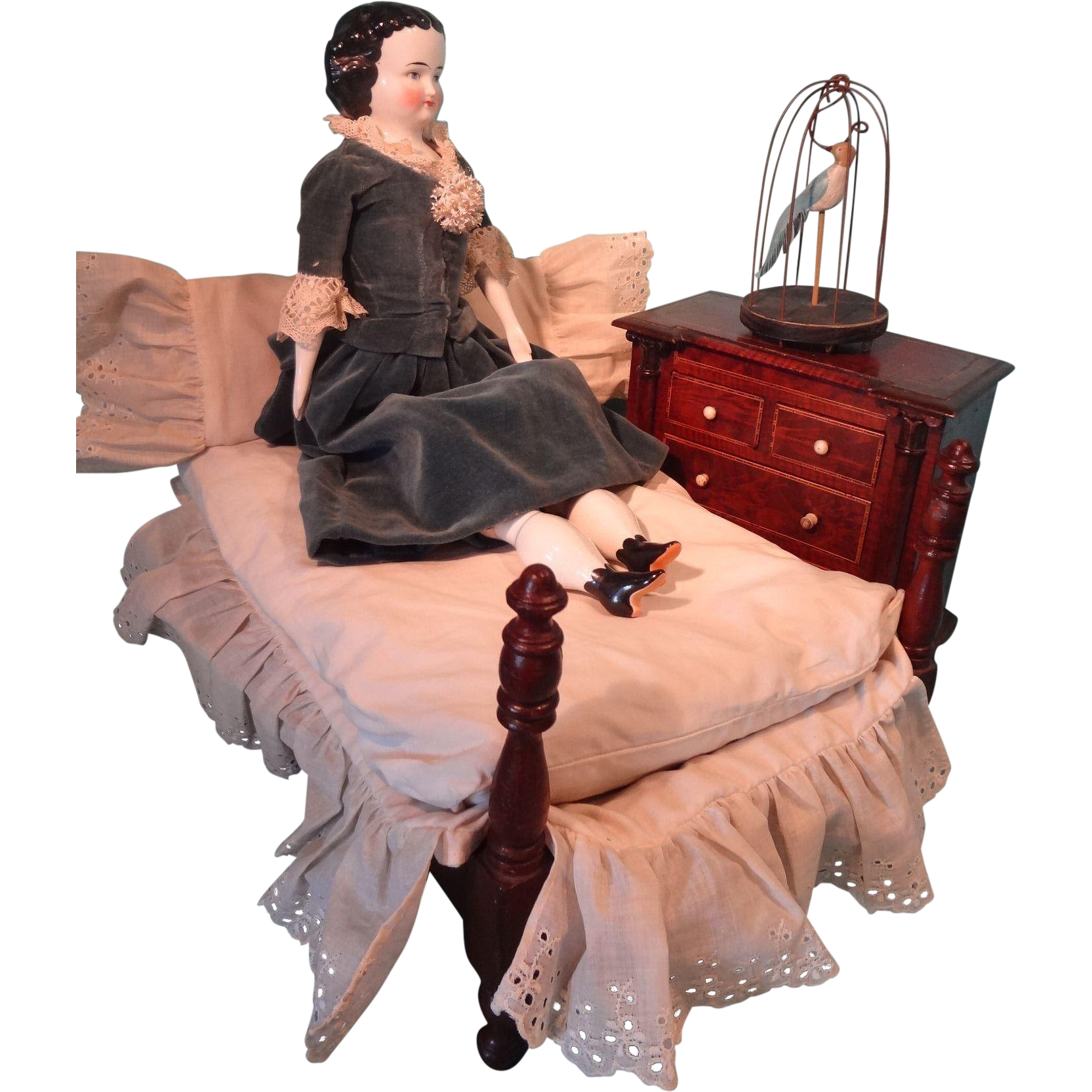 Antique Doll's Spool Bed with Linens for Fashion Doll