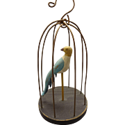 Carved and Painted Wooden Bird in Wire Cage