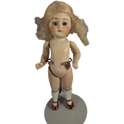 "All Bisque 4"" Doll with Glass Eyes Slim Body"