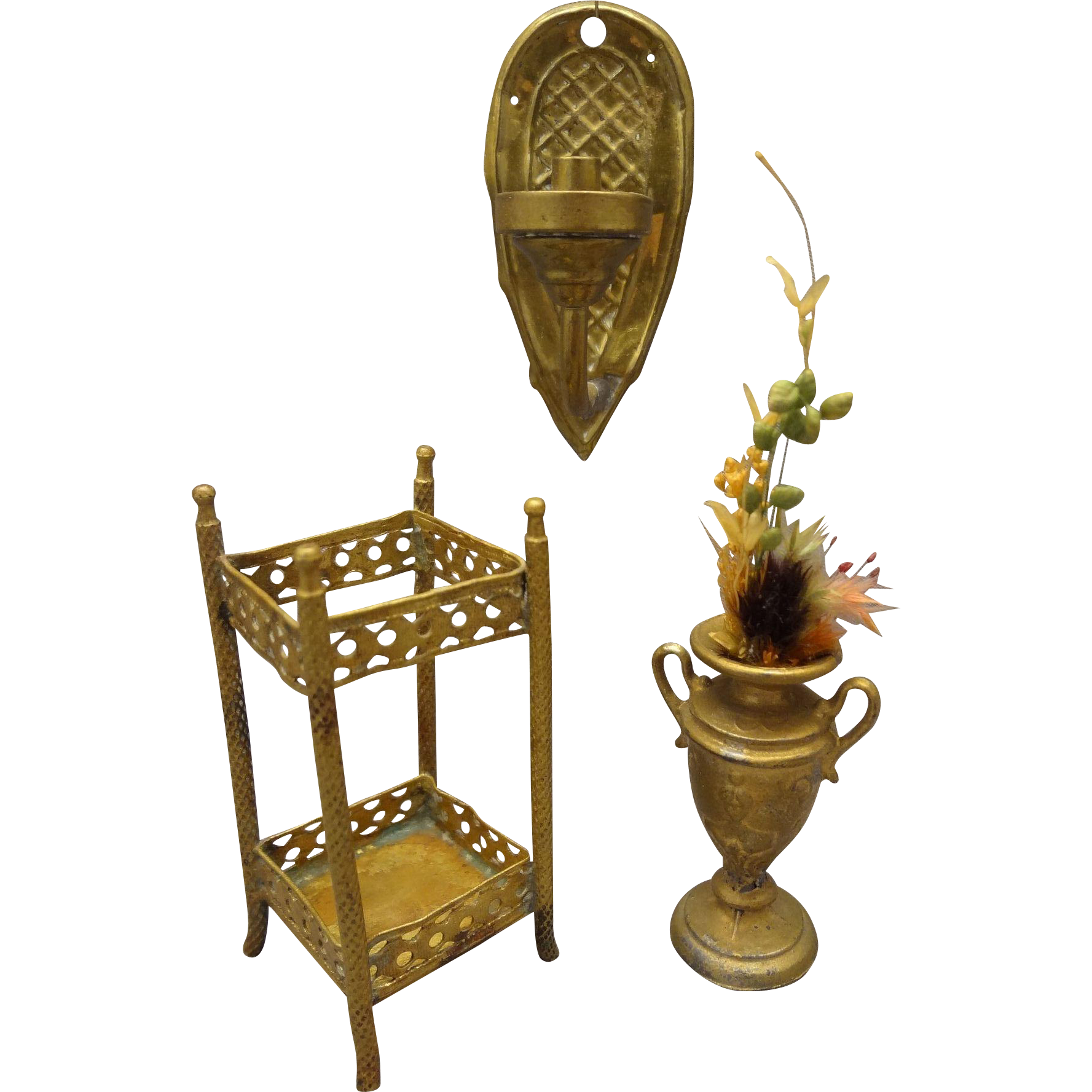 Group of Gilt and Ormolu Items for Doll House Umbrella Stand, Vase, Sconce