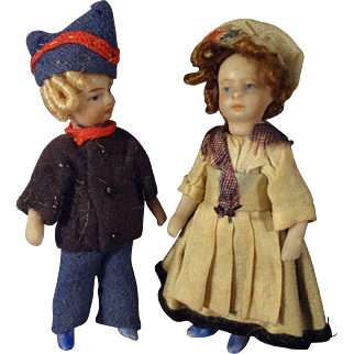 Pair of French All Bisque Lilliputiens Boy and Girl