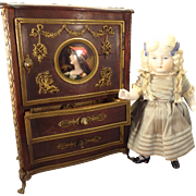 Outstanding French Miniature Linen Cabinet with Porcelain Portrait and Ormolu Mounts