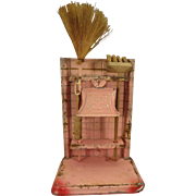 Wonderful Pink Tole Broom Rack Complete from Germany