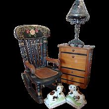Miniature Doll House Maple Drop Front Desk