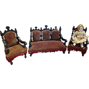 Beautiful Antique Doll House Sofa and Chairs in Dark Stain