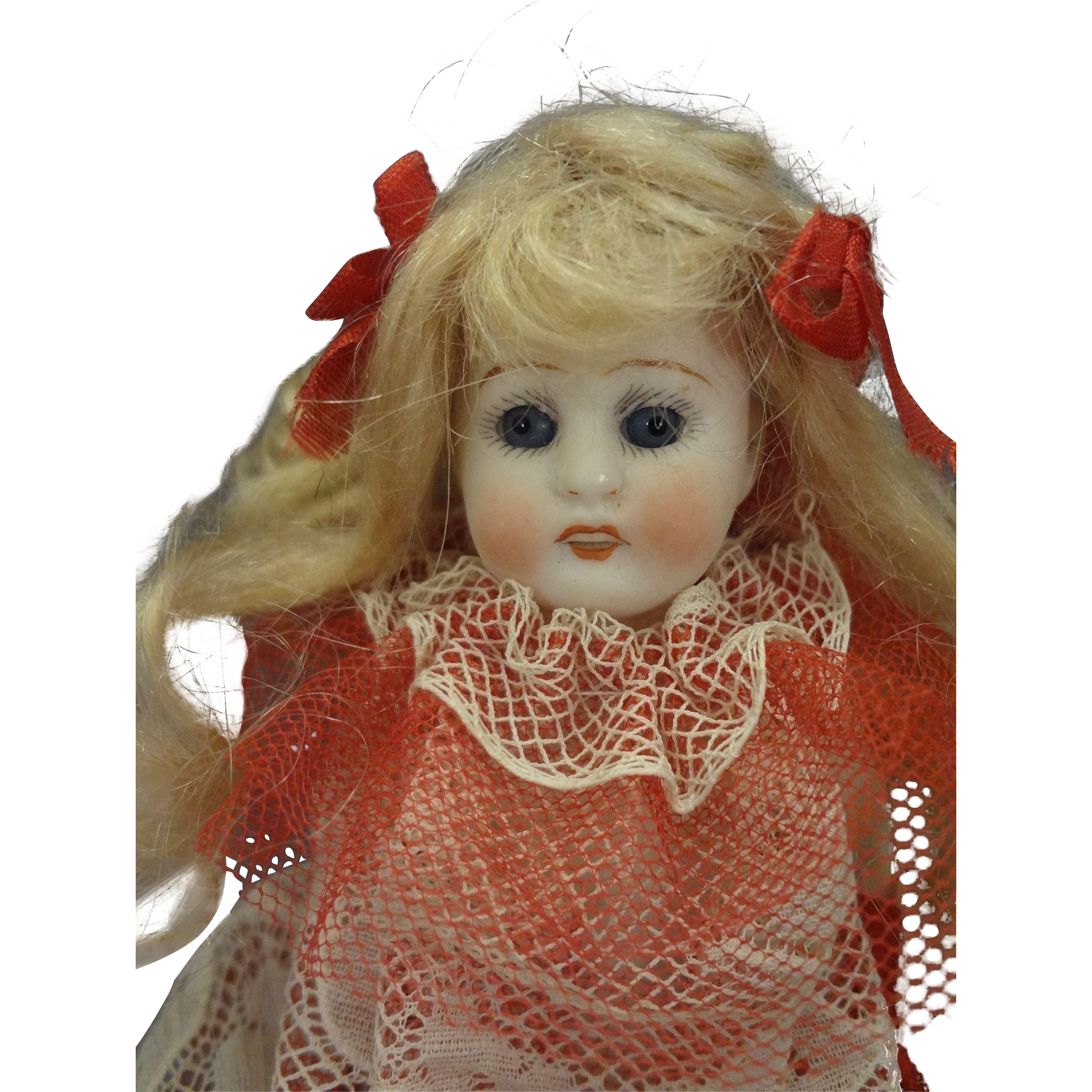 Chubby All Bisque Doll with Glass Eyes and Long Mohair Wig