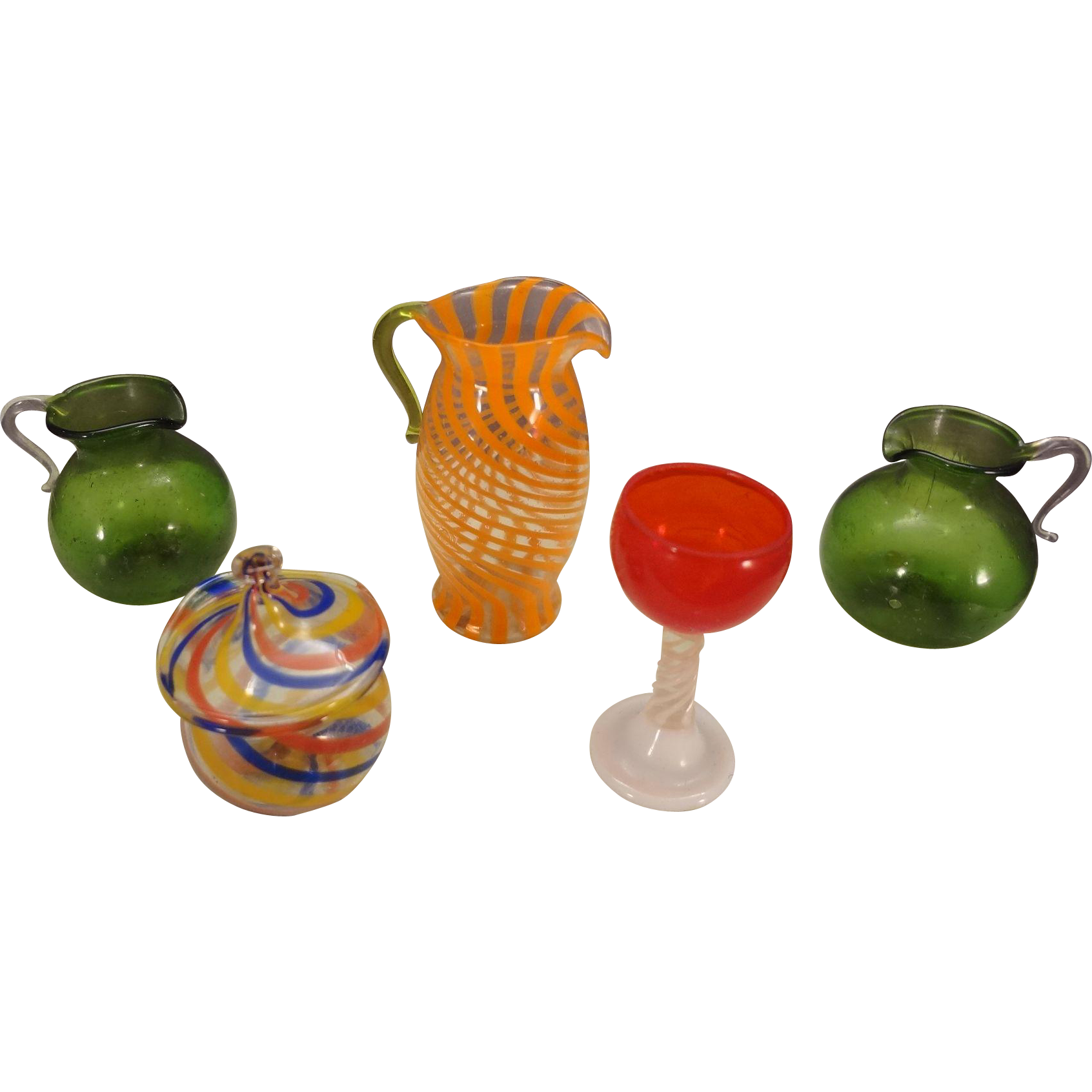 Colorful Group of Miniature Antique Glass