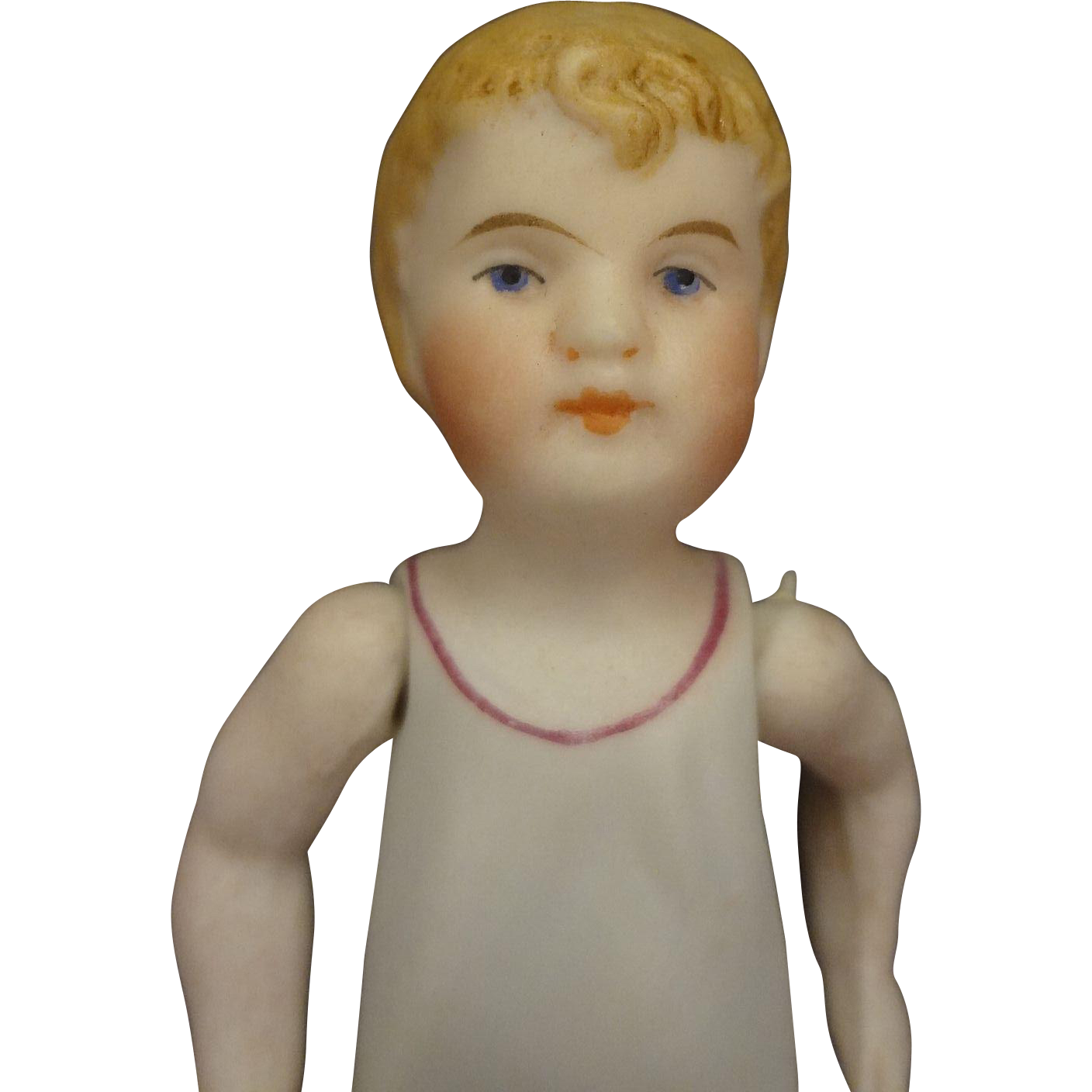 All Bisque Boy with Molded Nightshirt and Blonde Molded Hair