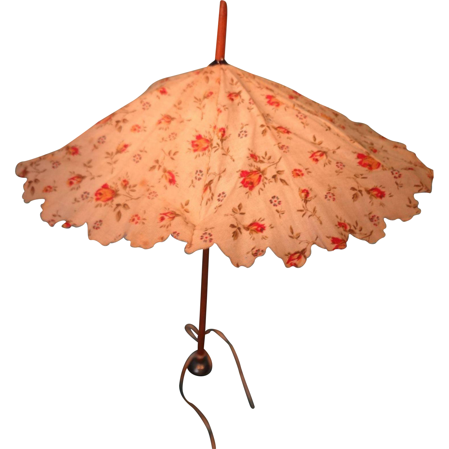 Doll Parasol with Wood Handle and Original Cover