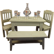 Painted Doll House Table Bench and Chairs