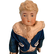 "12"" Bisque Boy with Blonde Molded Hair and Velvet Suit"
