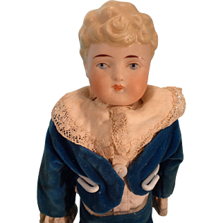 """12"""" Bisque Boy with Blonde Molded Hair and Velvet Suit"""