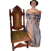 Antique Carved Doll Chair with Embroidery