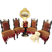 Wonderful Set of Doll House Chairs with Ebony Carved Wood Frames