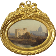 Ormolu Framed Landscape in Oval Frame