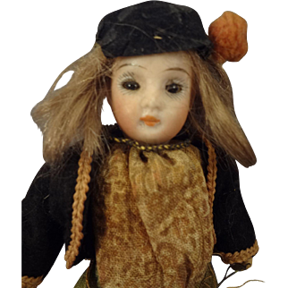 """5"""" Bisque Doll with Glass Eyes for the French Market"""