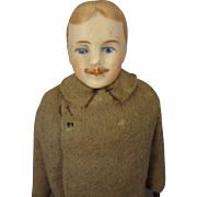"Very Handsome 7 1/2"" Doll House Man with Moustache and Rare Brown Gloves"