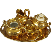 Gilt Porcelain Doll House Tea Set
