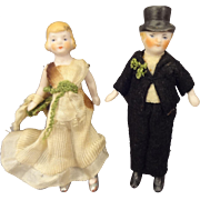 Pair of Tiny All Bisque Bride and Groom