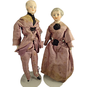"Elderly 6"" Doll House Man and Lady in Original Silk Attire"