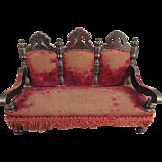 Antique Doll House Sofa with Burgundy Velvet Upholstery