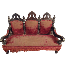 Antique Doll House Sofa with Burgundy Velvet Upholstery