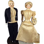 Fantastic Bisque Bride and Groom in Original Costumes