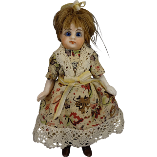 "4 1/2"" All Bisque Doll with Black Stockings Glass Eyes"