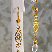 24K Gold Vermeil & Green Amethyst ( Proselyte ) Wrapped Earrings- Artisan Handmade Jewelry Gift for Her/Woman- Holiday Wear