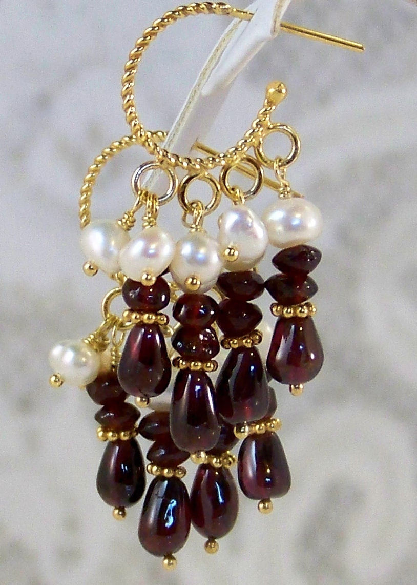 "Over 50% OFF! Valentine's Day Sale! 24K GV A+ Garnet Cultured Freshwater Pearl Chandelier Hoop Earrings 1.5"" long. Gift for Her"