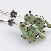 Lampwork Frog Earrings- Artisan Handmade- Bali Sterling Silver Dangle- Jewelry Gift for Her