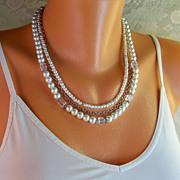 30% OFF! Layered Swarovski Cube, Czech Pearl Necklace- Oxidized Silver- Handmade Jewelry -Wedding/ Holiday/ Gift