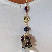 French Country Rose Inspired Gemstone Cluster Pendant Necklace- Gold Fill, Garnet, Labradorite, Cultured Akoya Black Pearl-Swarovski Crystal- Handmade Jewelry Gift
