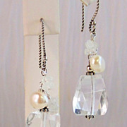 Rock Crystal, Rainbow Moonstone, Cultured Pearl Bali Sterling Silver Earrings- Jewelry Gift for Her