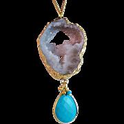 Druzy Drusy Agate Turquoise Gemstone Pendant Necklace- Gold- Layering- Handmade Boho Jewelry Gift
