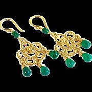 Emerald Green Onyx Tear Drop Chandelier Earrings -24K Bali Gold Vermeil- Artisan Handmade Boho Jewelry Gift