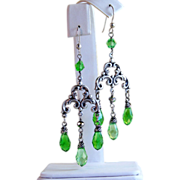Antiqued Peridot Swarovski Crystal Briolette Chandelier Silver Wrapped Earrings- Artisan Handmade Jewelry- Antiqued Style- Sterling Silver- Gift Her