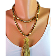 X-Long Knotted Gold Hematite Tassel Necklace- Faceted Gold Hematite Gemstones- Handmade Jewelry Gift Her