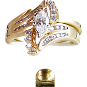 Diamond Ring Engagement Wedding Ring Set- 14k Gold- 1.11ctw- Size 7