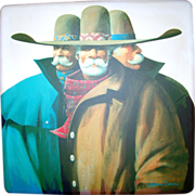 The Trio by James Darum- Original Trio Oil Painting- 4FT x 4FT Canvas- Southwest Western Fine Art